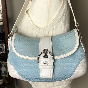 Coach Blue Signature Fabric/White Leather Purse
